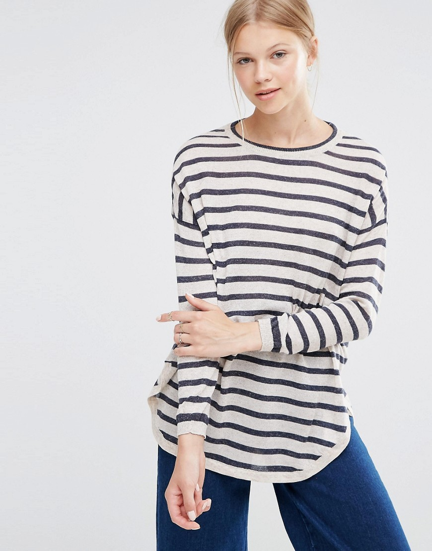 Stripe Jumper Oatmeal - neckline: round neck; pattern: horizontal stripes; style: standard; secondary colour: ivory/cream; predominant colour: black; occasions: casual, creative work; length: standard; fibres: polyester/polyamide - mix; fit: loose; sleeve length: long sleeve; sleeve style: standard; texture group: knits/crochet; pattern type: knitted - fine stitch; pattern size: big & busy (top); season: a/w 2016; wardrobe: highlight