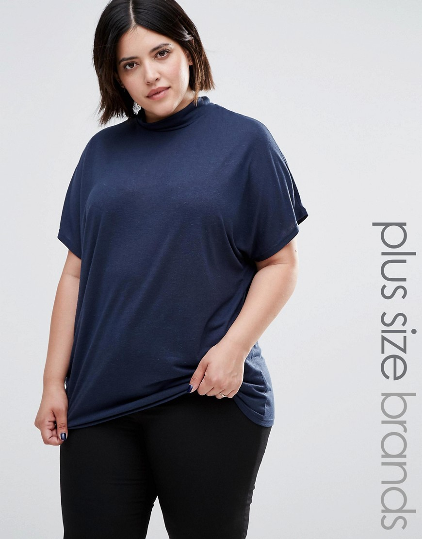 Plus Suma T Shirt Black Iris - pattern: plain; style: t-shirt; predominant colour: navy; occasions: casual, work, creative work; length: standard; fibres: linen - mix; fit: loose; neckline: crew; sleeve length: short sleeve; sleeve style: standard; texture group: linen; pattern type: fabric; wardrobe: basic; season: a/w 2016