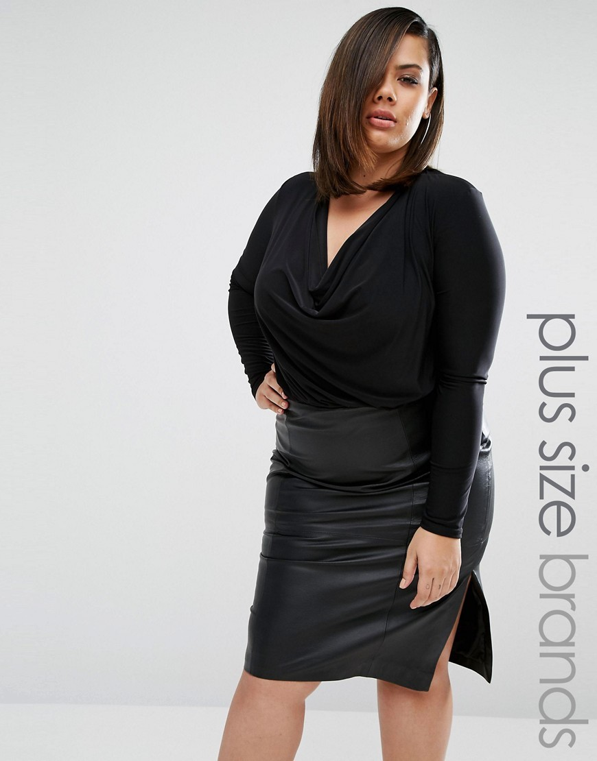Plus Body With Drape Front Black - neckline: low v-neck; pattern: plain; predominant colour: black; occasions: evening, work, creative work; length: standard; style: top; fibres: polyester/polyamide - stretch; fit: body skimming; sleeve length: long sleeve; sleeve style: standard; pattern type: fabric; texture group: jersey - stretchy/drapey; season: a/w 2016