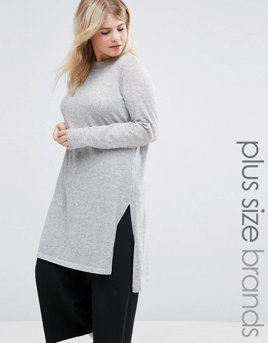 Funnel Neck Longline Knitted Jumper With Side Splits Grey - pattern: plain; length: below the bottom; style: standard; predominant colour: light grey; occasions: casual, creative work; fibres: polyester/polyamide - mix; fit: loose; neckline: crew; sleeve length: long sleeve; sleeve style: standard; texture group: knits/crochet; pattern type: knitted - fine stitch; wardrobe: basic; season: a/w 2016