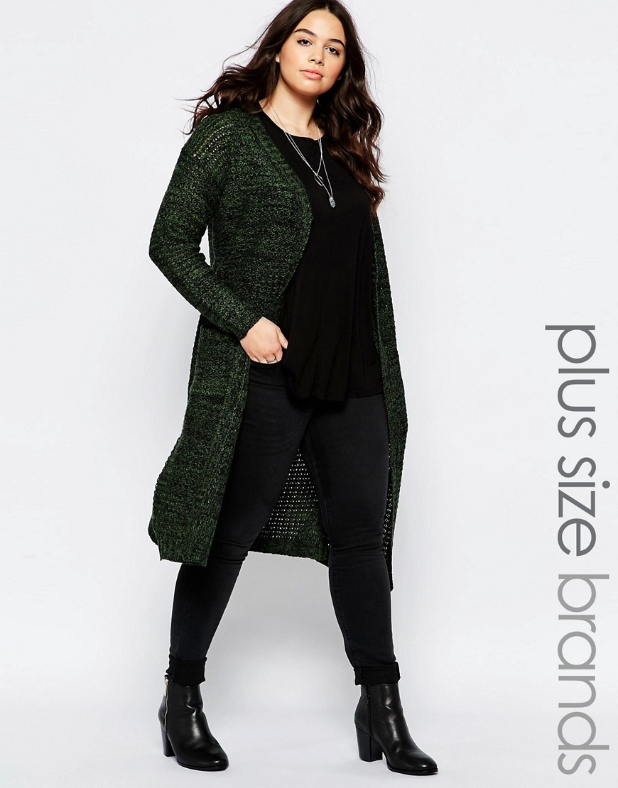 Plus Longline Cardigan Khaki/Black - pattern: plain; neckline: collarless open; style: open front; length: below the knee; predominant colour: dark green; occasions: casual, work, creative work; fibres: acrylic - 100%; fit: loose; sleeve length: long sleeve; sleeve style: standard; texture group: knits/crochet; pattern type: knitted - fine stitch; season: a/w 2016; wardrobe: highlight