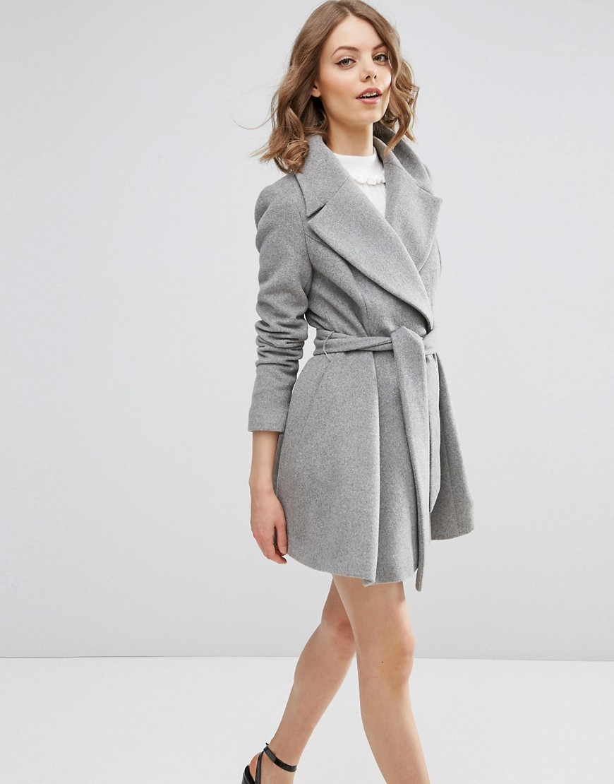 Skater Coat In Wool Blend With Oversized Collar And Self Belt Grey Marl - pattern: plain; collar: wide lapels; style: wrap around; fit: slim fit; length: mid thigh; predominant colour: light grey; occasions: casual; fibres: wool - mix; waist detail: belted waist/tie at waist/drawstring; sleeve length: long sleeve; sleeve style: standard; collar break: medium; pattern type: fabric; texture group: woven bulky/heavy; season: a/w 2016