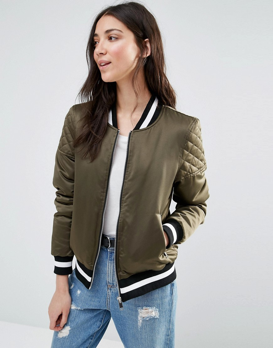 Retro Bomber With Quilted Sleeves And Contrast Hem Khaki - pattern: plain; collar: round collar/collarless; fit: loose; style: bomber; predominant colour: khaki; secondary colour: black; occasions: casual; length: standard; fibres: polyester/polyamide - 100%; sleeve length: long sleeve; sleeve style: standard; collar break: high; pattern type: fabric; texture group: woven light midweight; embellishment: quilted; multicoloured: multicoloured; season: a/w 2016; wardrobe: highlight