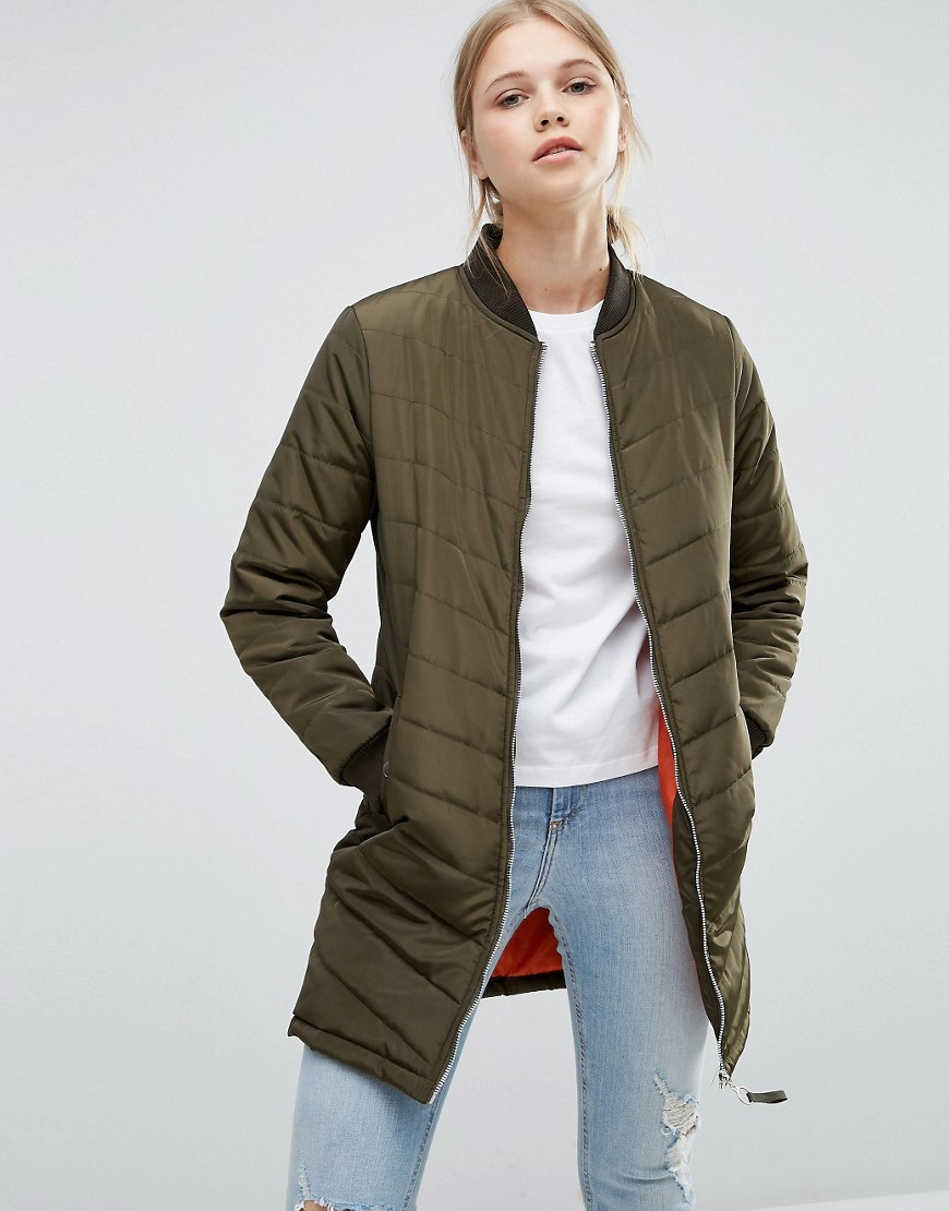 Longline Quilted Bomber Jacket Khaki - pattern: plain; collar: round collar/collarless; length: mid thigh; predominant colour: khaki; occasions: casual; fit: tailored/fitted; fibres: polyester/polyamide - 100%; sleeve length: long sleeve; sleeve style: standard; collar break: high; pattern type: fabric; texture group: woven light midweight; style: puffa; wardrobe: basic; season: a/w 2016