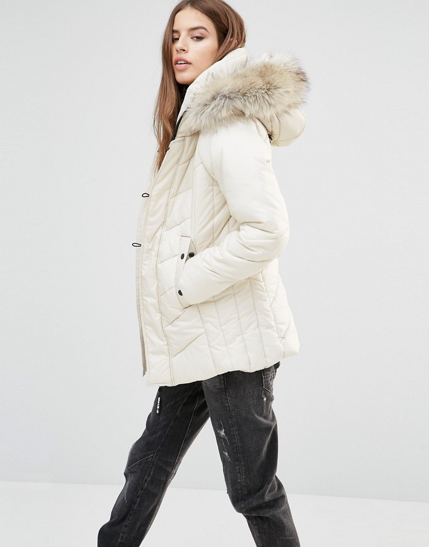 Alaska Padded Coat With Faux Fur Hood White - pattern: plain; length: below the bottom; collar: funnel; style: parka; back detail: hood; fit: slim fit; predominant colour: ivory/cream; occasions: casual; fibres: polyester/polyamide - 100%; sleeve length: long sleeve; sleeve style: standard; texture group: technical outdoor fabrics; collar break: high; pattern type: fabric; embellishment: fur; season: a/w 2016; wardrobe: highlight