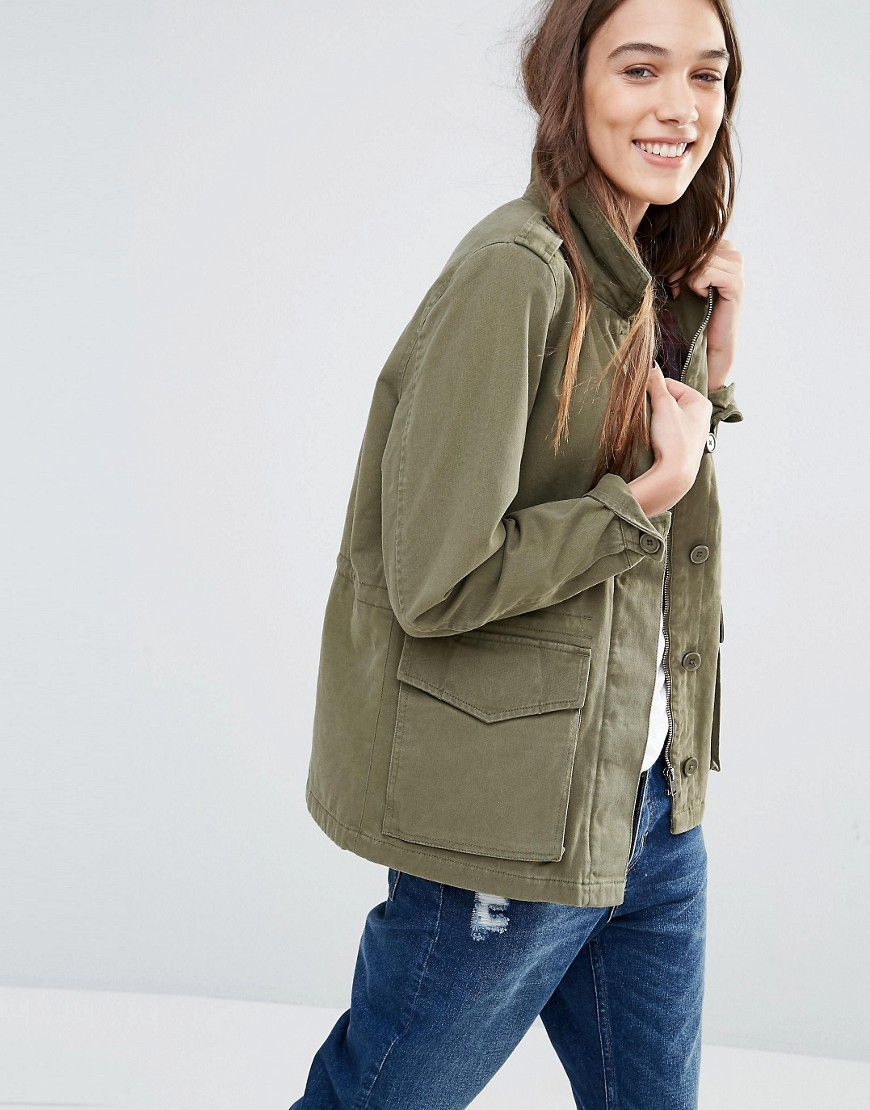 Khaki Utility Jacket Green - pattern: plain; collar: funnel; fit: loose; style: boxy; predominant colour: khaki; occasions: casual; length: standard; fibres: cotton - 100%; sleeve length: long sleeve; sleeve style: standard; collar break: high; pattern type: fabric; texture group: woven light midweight; wardrobe: basic; season: a/w 2016