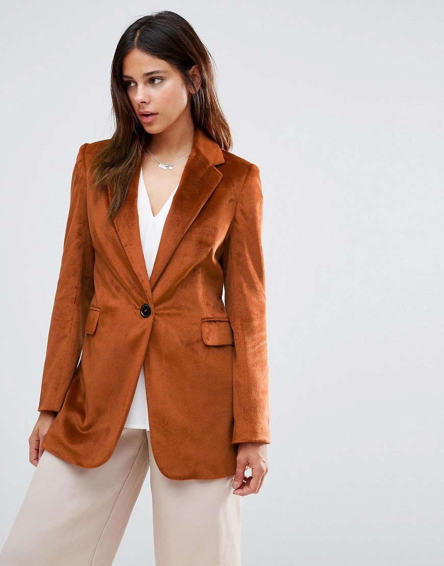Longline Blazer In Textured Burnt Copper Burnt Sienna - pattern: plain; style: single breasted blazer; length: below the bottom; collar: standard lapel/rever collar; predominant colour: terracotta; occasions: casual, work, creative work; fit: tailored/fitted; fibres: polyester/polyamide - 100%; sleeve length: long sleeve; sleeve style: standard; collar break: medium; pattern type: fabric; texture group: woven light midweight; season: a/w 2016; wardrobe: highlight