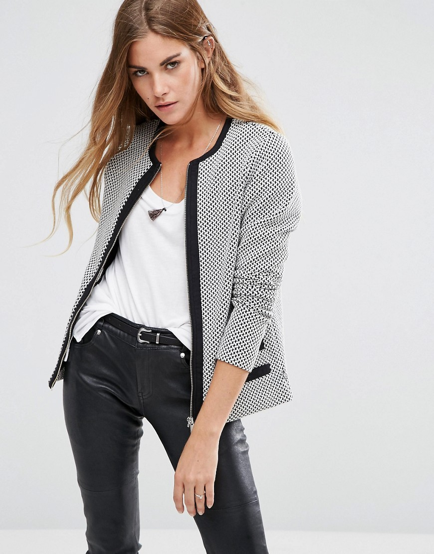 Stretch Zip Through Blazer A Combo A - collar: round collar/collarless; style: boxy; predominant colour: light grey; secondary colour: black; occasions: casual; length: standard; fit: straight cut (boxy); fibres: cotton - stretch; sleeve length: long sleeve; sleeve style: standard; collar break: high; pattern type: fabric; pattern: patterned/print; texture group: woven light midweight; multicoloured: multicoloured; season: a/w 2016; wardrobe: highlight