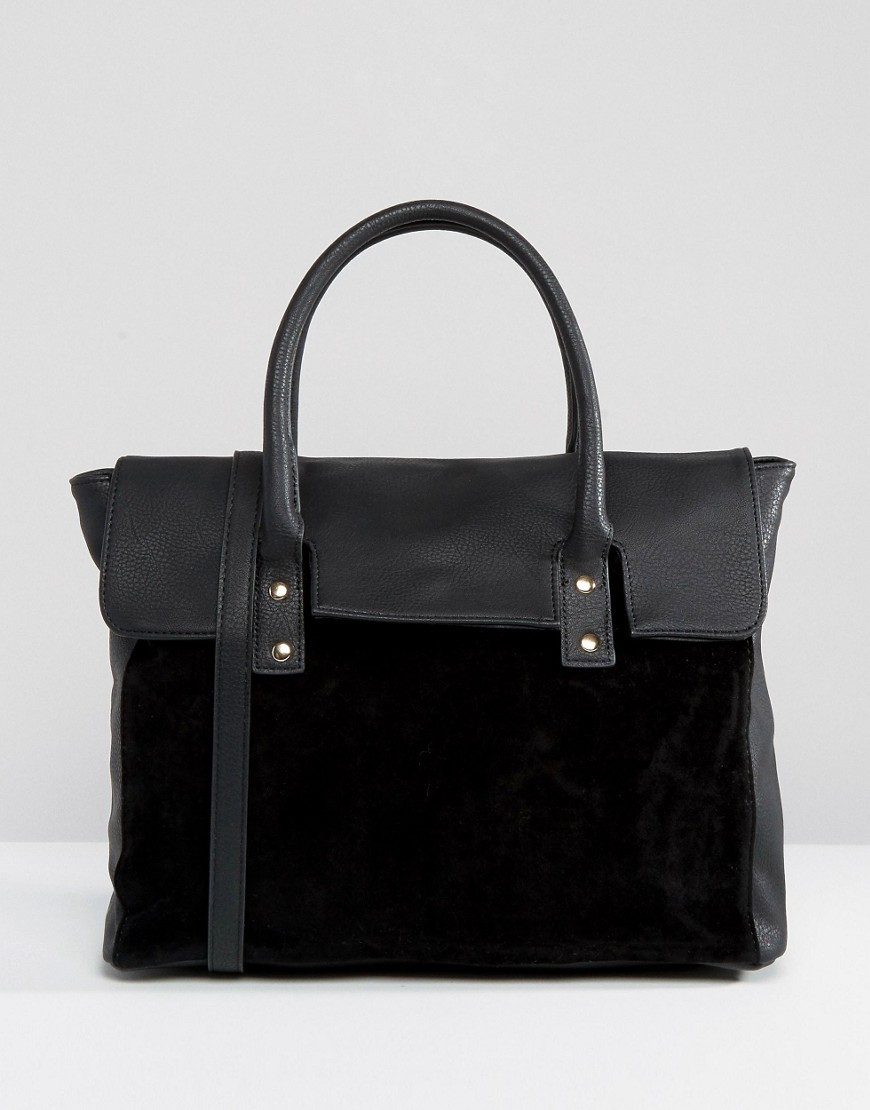 Foldover Tote Bag With Contrast Velvet Black - predominant colour: black; occasions: work, creative work; type of pattern: standard; style: tote; length: handle; size: standard; material: leather; pattern: plain; finish: plain; season: a/w 2016; trends: velvet