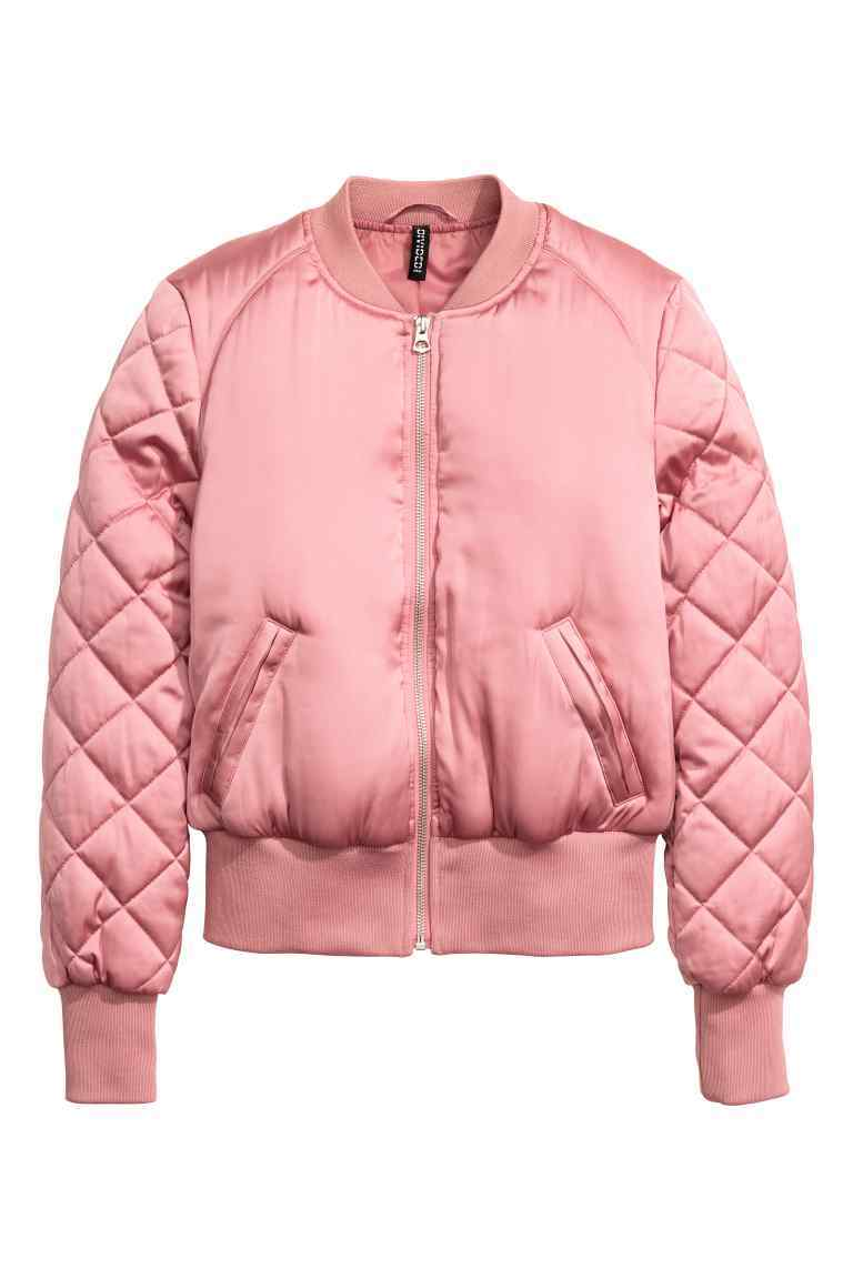 Bomber Jacket - pattern: plain; collar: round collar/collarless; style: bomber; predominant colour: pink; occasions: casual; length: standard; fit: straight cut (boxy); fibres: polyester/polyamide - 100%; sleeve length: long sleeve; sleeve style: standard; texture group: structured shiny - satin/tafetta/silk etc.; collar break: high; pattern type: fabric; embellishment: quilted; season: a/w 2016; wardrobe: highlight
