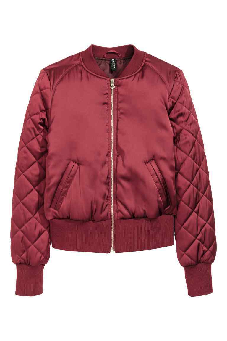 Bomber Jacket - sleeve style: puffed; pattern: plain; collar: round collar/collarless; style: bomber; occasions: casual; length: standard; fit: straight cut (boxy); fibres: polyester/polyamide - 100%; sleeve length: long sleeve; texture group: structured shiny - satin/tafetta/silk etc.; collar break: high; pattern type: fabric; predominant colour: dusky pink; embellishment: quilted; season: a/w 2016