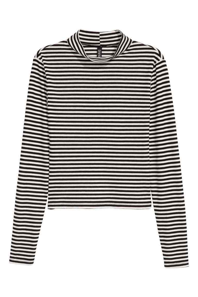 Ribbed Top - pattern: horizontal stripes; neckline: high neck; secondary colour: white; predominant colour: black; occasions: casual; length: standard; style: top; fibres: polyester/polyamide - stretch; fit: body skimming; sleeve length: long sleeve; sleeve style: standard; pattern type: fabric; texture group: jersey - stretchy/drapey; multicoloured: multicoloured; wardrobe: basic; season: a/w 2016