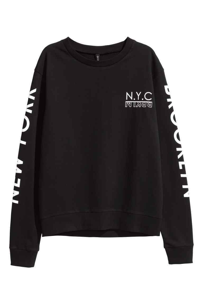 Printed Sweatshirt - style: sweat top; secondary colour: white; predominant colour: black; occasions: casual; length: standard; fibres: cotton - 100%; fit: loose; neckline: crew; sleeve length: long sleeve; sleeve style: standard; trends: monochrome; pattern type: fabric; texture group: jersey - stretchy/drapey; pattern: graphic/slogan; multicoloured: multicoloured; season: a/w 2016; wardrobe: highlight