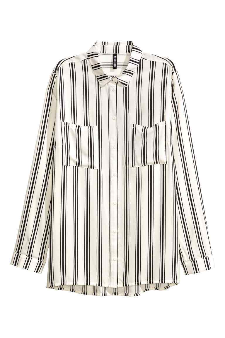 Viscose Shirt - neckline: shirt collar/peter pan/zip with opening; pattern: vertical stripes; style: shirt; predominant colour: white; secondary colour: black; occasions: casual; length: standard; fibres: viscose/rayon - 100%; fit: body skimming; sleeve length: long sleeve; sleeve style: standard; pattern type: fabric; texture group: woven light midweight; multicoloured: multicoloured; season: a/w 2016