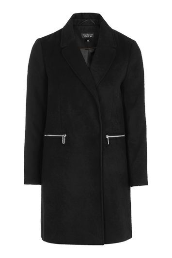 Slim Fit Boyfriend Coat - pattern: plain; style: wrap around; collar: standard lapel/rever collar; length: mid thigh; predominant colour: black; occasions: work; fit: tailored/fitted; fibres: polyester/polyamide - stretch; sleeve length: long sleeve; sleeve style: standard; collar break: medium; pattern type: fabric; texture group: woven bulky/heavy; trends: chic girl, glossy girl, rebel girl, tomboy girl; wardrobe: investment; season: a/w 2016