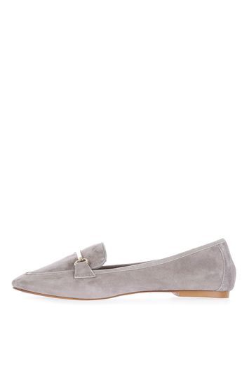 Libby Trim Softy Loafer - predominant colour: mid grey; occasions: casual, creative work; material: suede; heel height: flat; embellishment: snaffles; toe: pointed toe; style: loafers; finish: plain; pattern: plain; wardrobe: basic; season: a/w 2016
