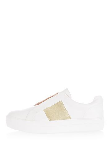 Tangle White Trainer - secondary colour: white; predominant colour: gold; occasions: casual; material: faux leather; heel height: flat; toe: round toe; style: trainers; finish: plain; pattern: colourblock; shoe detail: moulded soul; trends: tomboy girl; season: a/w 2016; wardrobe: highlight