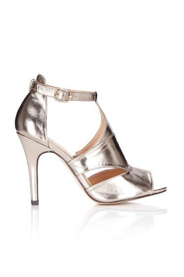 Gold Ankle Strap Heeled Sandal - predominant colour: gold; occasions: evening, occasion; material: faux leather; heel height: high; ankle detail: ankle strap; heel: stiletto; toe: open toe/peeptoe; style: standard; finish: plain; pattern: plain; season: a/w 2016; wardrobe: event