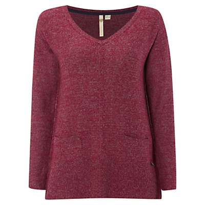 Well Travelled Jumper - neckline: low v-neck; pattern: plain; length: below the bottom; style: standard; predominant colour: burgundy; occasions: casual, creative work; fibres: cotton - mix; fit: standard fit; sleeve length: long sleeve; sleeve style: standard; texture group: knits/crochet; pattern type: knitted - fine stitch; season: a/w 2016; wardrobe: highlight; trends: chunky knits
