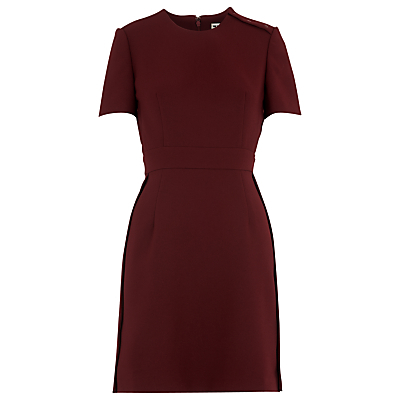 Ella Popper Side Dress, Burgandy - style: shift; pattern: plain; predominant colour: burgundy; occasions: evening, creative work; length: just above the knee; fit: body skimming; fibres: polyester/polyamide - 100%; neckline: crew; sleeve length: short sleeve; sleeve style: standard; texture group: crepes; pattern type: fabric; season: a/w 2016; wardrobe: highlight
