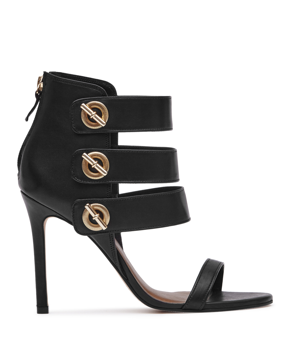 Hawthorne Womens Triple Strap Sandals In Black - predominant colour: black; occasions: evening, occasion; material: leather; ankle detail: ankle strap; heel: stiletto; toe: open toe/peeptoe; style: strappy; finish: plain; pattern: plain; heel height: very high; season: a/w 2016; wardrobe: event