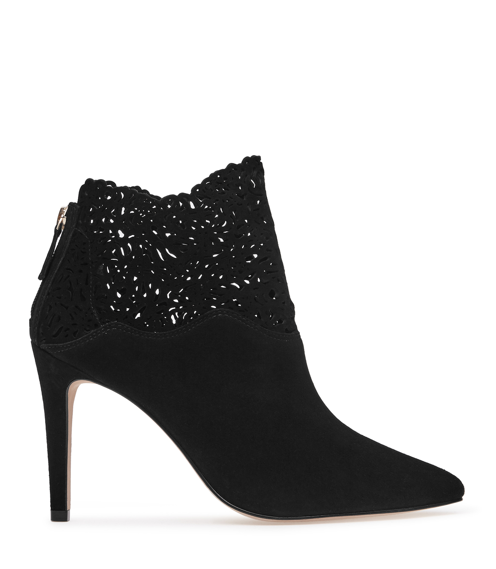 Peyton Womens Laser Cut Ankle Boots In Black - predominant colour: black; occasions: evening; material: suede; heel height: high; heel: stiletto; toe: pointed toe; boot length: ankle boot; style: standard; finish: plain; pattern: plain; season: a/w 2016