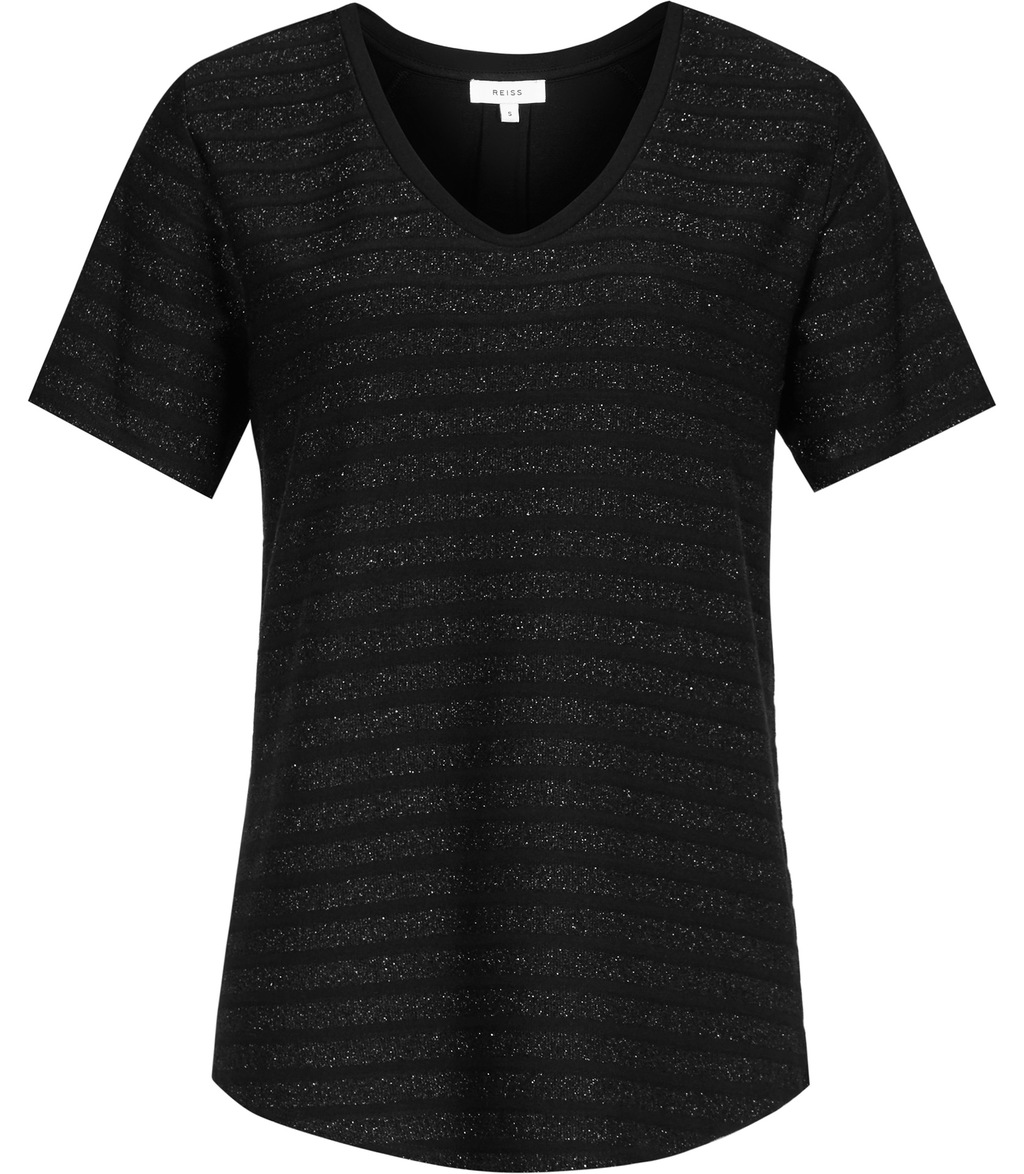 Alvie Womens Metallic Stripe T Shirt In Black - neckline: v-neck; pattern: horizontal stripes; style: t-shirt; predominant colour: black; occasions: casual; length: standard; fibres: viscose/rayon - stretch; fit: body skimming; sleeve length: short sleeve; sleeve style: standard; pattern type: fabric; texture group: jersey - stretchy/drapey; wardrobe: basic; season: a/w 2016