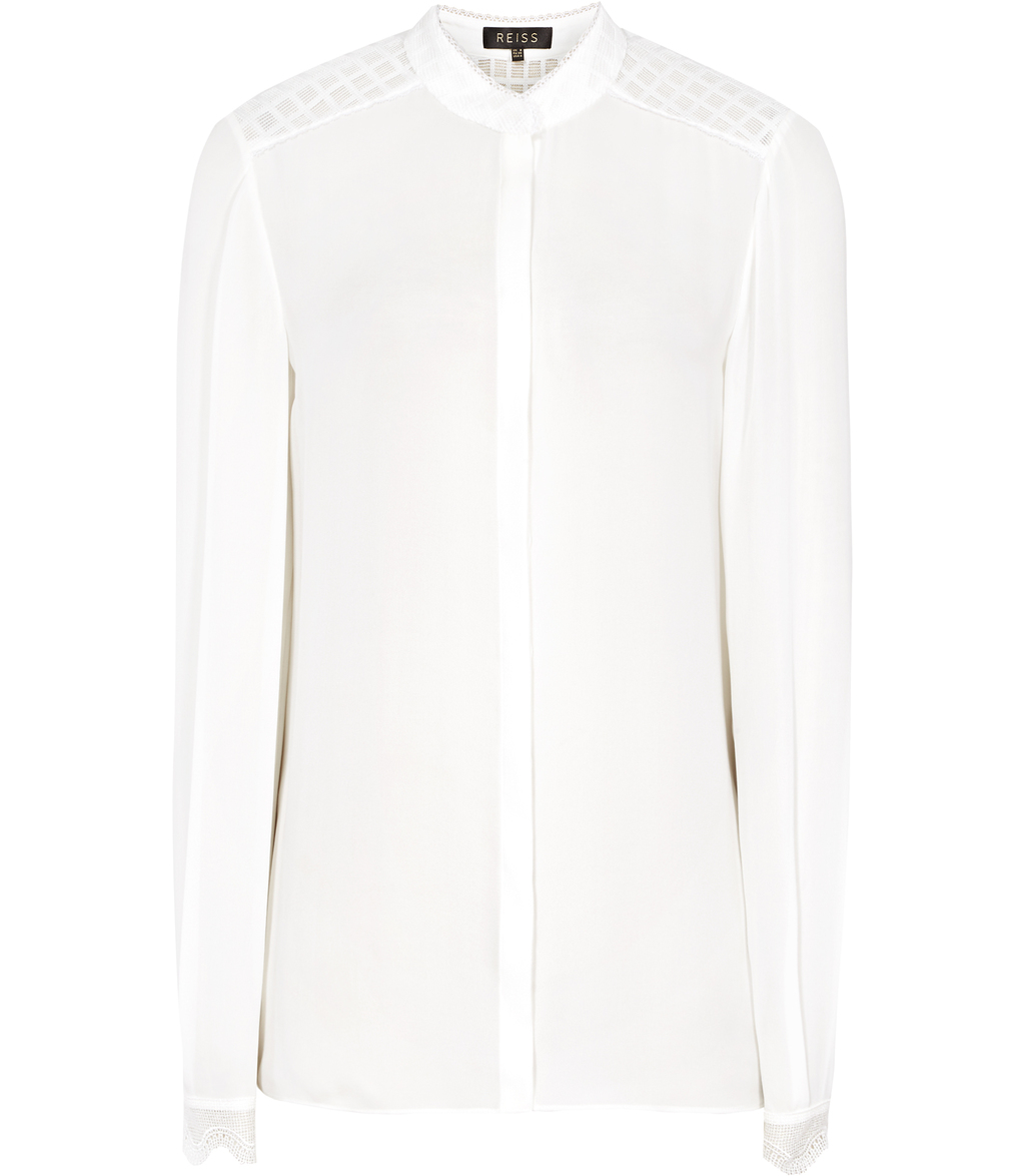 Wonder Womens Lace Detail Shirt In White - pattern: plain; style: shirt; predominant colour: white; occasions: evening; length: standard; neckline: collarstand; fibres: silk - 100%; fit: body skimming; sleeve length: long sleeve; sleeve style: standard; texture group: silky - light; pattern type: fabric; season: a/w 2016; wardrobe: event