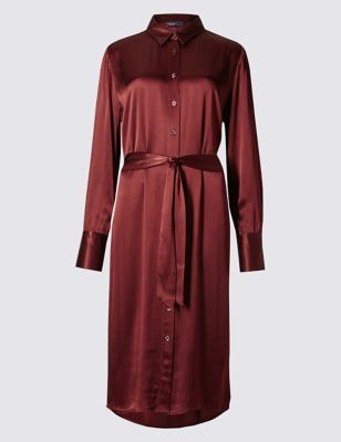 Long Sleeve Shirt Dress With Belt - style: shirt; length: calf length; neckline: shirt collar/peter pan/zip with opening; fit: fitted at waist; pattern: plain; predominant colour: burgundy; occasions: casual, occasion, creative work; fibres: silk - 100%; sleeve length: long sleeve; sleeve style: standard; texture group: silky - light; pattern type: fabric; season: a/w 2016; wardrobe: highlight