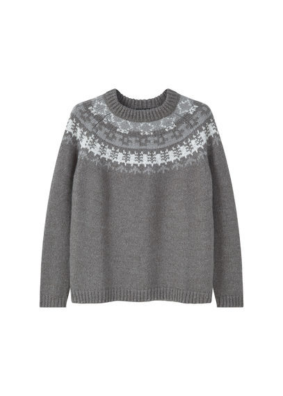 Chunky Knit Sweater - neckline: round neck; style: standard; secondary colour: white; predominant colour: mid grey; occasions: casual, creative work; length: standard; fibres: acrylic - mix; fit: standard fit; pattern: fairisle; sleeve length: long sleeve; sleeve style: standard; texture group: knits/crochet; pattern type: knitted - fine stitch; pattern size: standard; season: a/w 2016