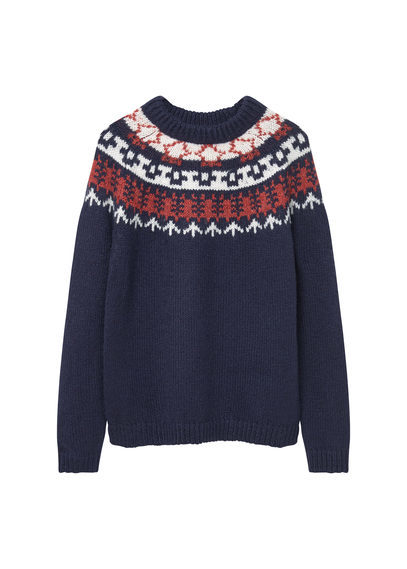 Chunky Knit Sweater - neckline: round neck; style: standard; predominant colour: navy; secondary colour: bright orange; occasions: casual; length: standard; fibres: acrylic - mix; fit: standard fit; pattern: fairisle; sleeve length: long sleeve; sleeve style: standard; texture group: knits/crochet; pattern type: knitted - fine stitch; pattern size: standard; season: a/w 2016; wardrobe: highlight; trends: festive knits
