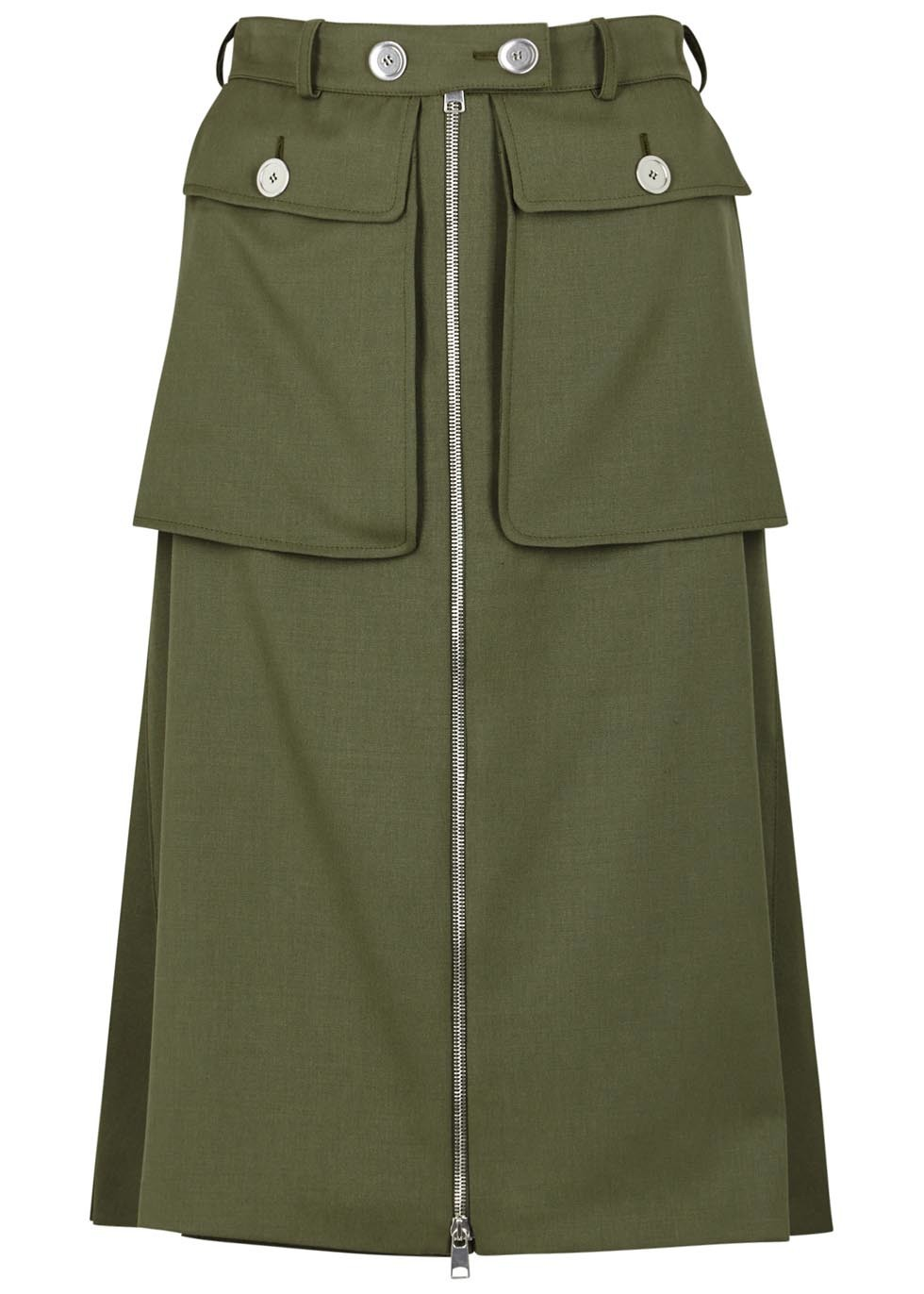 Olive Green Wool Skirt - pattern: plain; fit: loose/voluminous; waist: high rise; predominant colour: khaki; occasions: casual, creative work; length: on the knee; style: a-line; fibres: wool - 100%; hip detail: subtle/flattering hip detail; pattern type: fabric; texture group: woven light midweight; wardrobe: basic; season: a/w 2016
