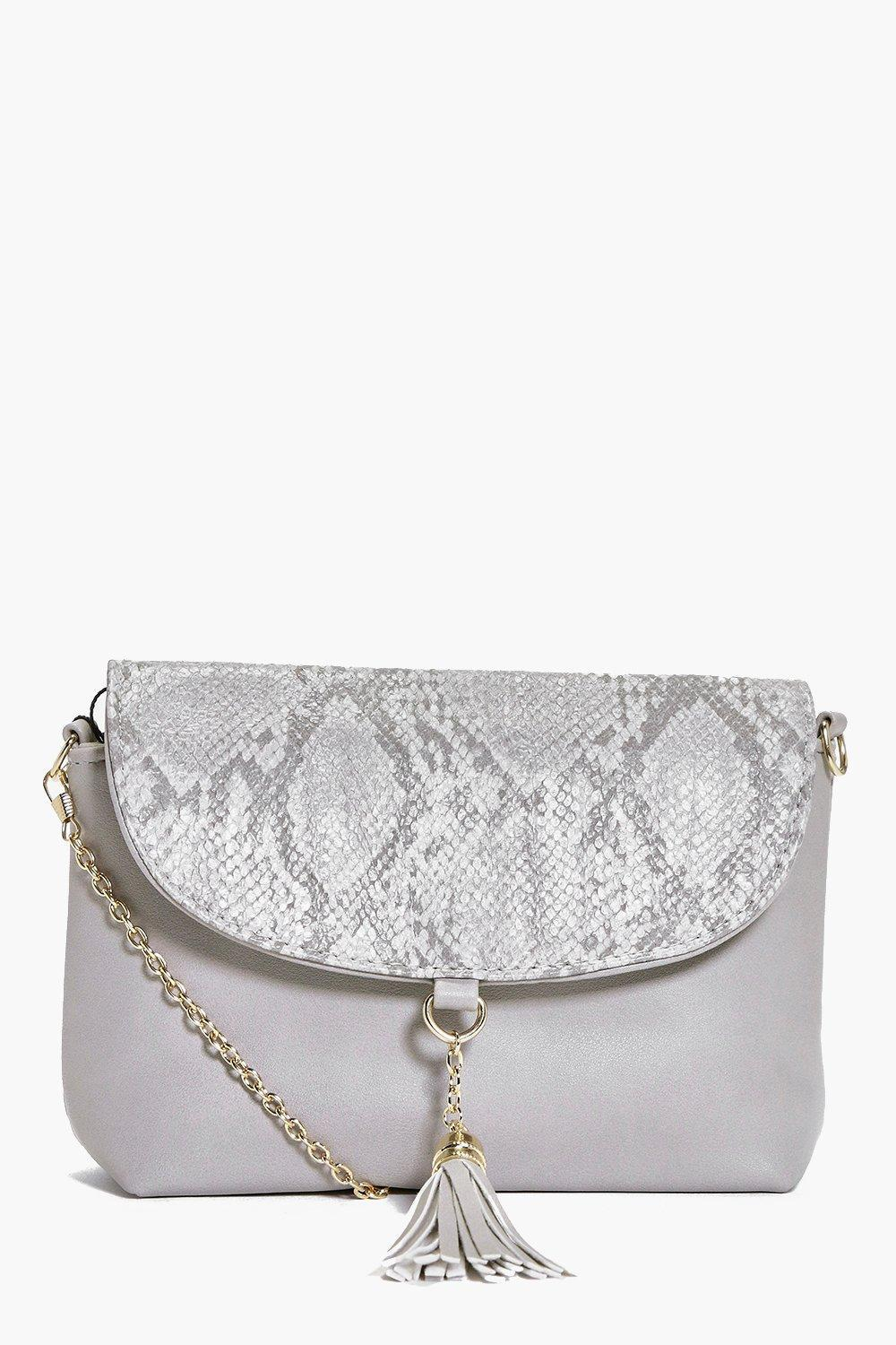 Faux Snake Tassel Detail Cross Body Bag Grey - predominant colour: light grey; occasions: evening; type of pattern: light; style: shoulder; length: across body/long; size: standard; material: faux leather; embellishment: tassels; pattern: animal print; finish: plain; season: a/w 2016; wardrobe: event