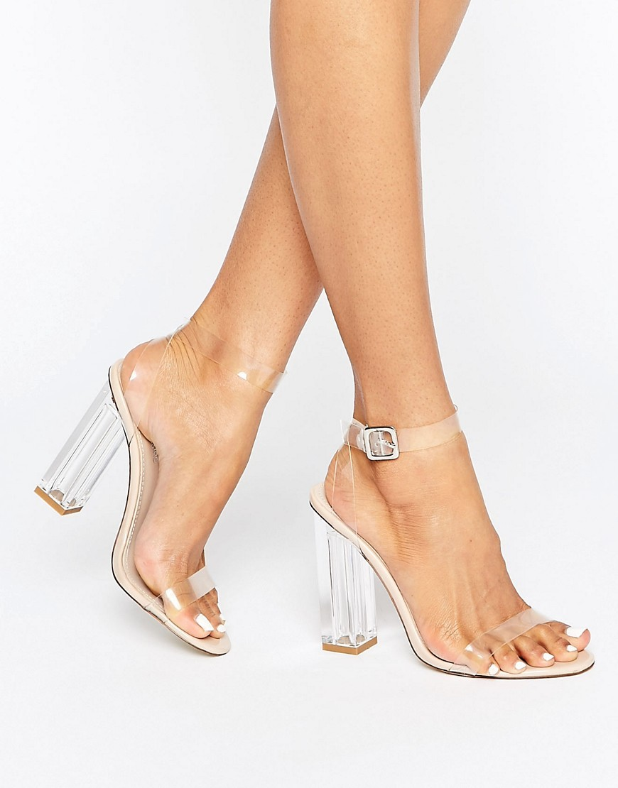 Alia Clear Strap Block Heeled Sandals Pvc/Nude - occasions: evening, occasion; material: plastic/rubber; ankle detail: ankle strap; heel: block; toe: open toe/peeptoe; style: strappy; finish: plain; pattern: plain; heel height: very high; predominant colour: clear; season: a/w 2016