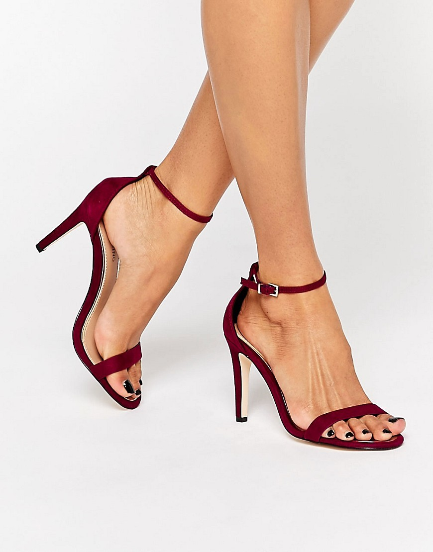 Liraniel Fuschia Barely There Heeled Sandals Fuschia - occasions: evening, occasion; heel height: high; ankle detail: ankle strap; heel: stiletto; toe: open toe/peeptoe; style: standard; finish: plain; pattern: plain; predominant colour: raspberry; material: faux suede; season: a/w 2016; wardrobe: event