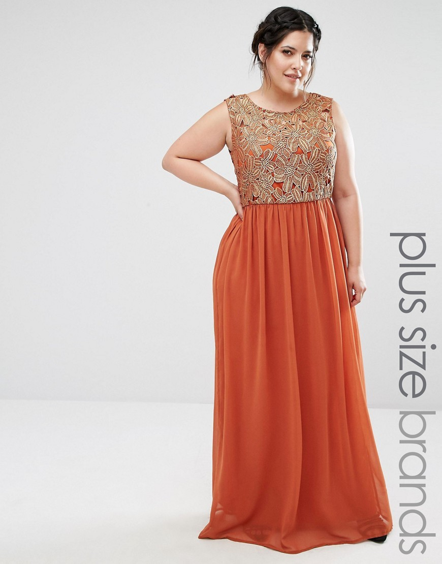 Plus Maxi Dress With Metallic Lace Top Rust - pattern: plain; sleeve style: sleeveless; style: maxi dress; predominant colour: bright orange; occasions: evening; length: floor length; fit: body skimming; fibres: polyester/polyamide - 100%; neckline: crew; sleeve length: sleeveless; texture group: sheer fabrics/chiffon/organza etc.; pattern type: fabric; embellishment: lace; season: a/w 2016; wardrobe: event