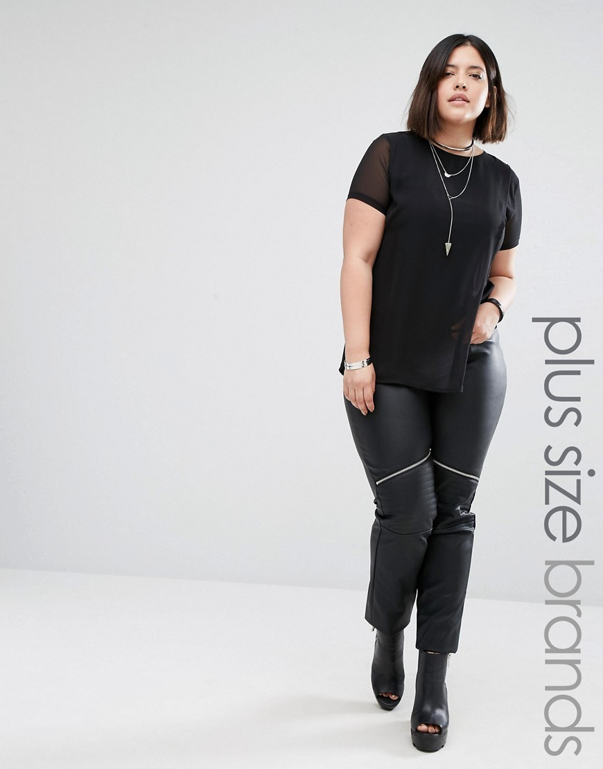 Leather Look Biker Leggings Black - length: standard; pattern: plain; style: leggings; waist: mid/regular rise; predominant colour: black; occasions: casual; fibres: polyester/polyamide - stretch; texture group: leather; fit: skinny/tight leg; pattern type: fabric; season: a/w 2016; wardrobe: highlight