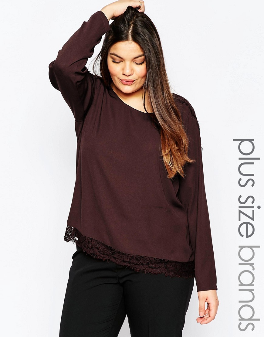 Plus Menas Blouse With Lace Hem Fudge - pattern: plain; style: blouse; predominant colour: burgundy; occasions: casual; length: standard; fibres: polyester/polyamide - 100%; fit: body skimming; neckline: crew; sleeve length: long sleeve; sleeve style: standard; pattern type: fabric; texture group: jersey - stretchy/drapey; season: a/w 2016; wardrobe: highlight