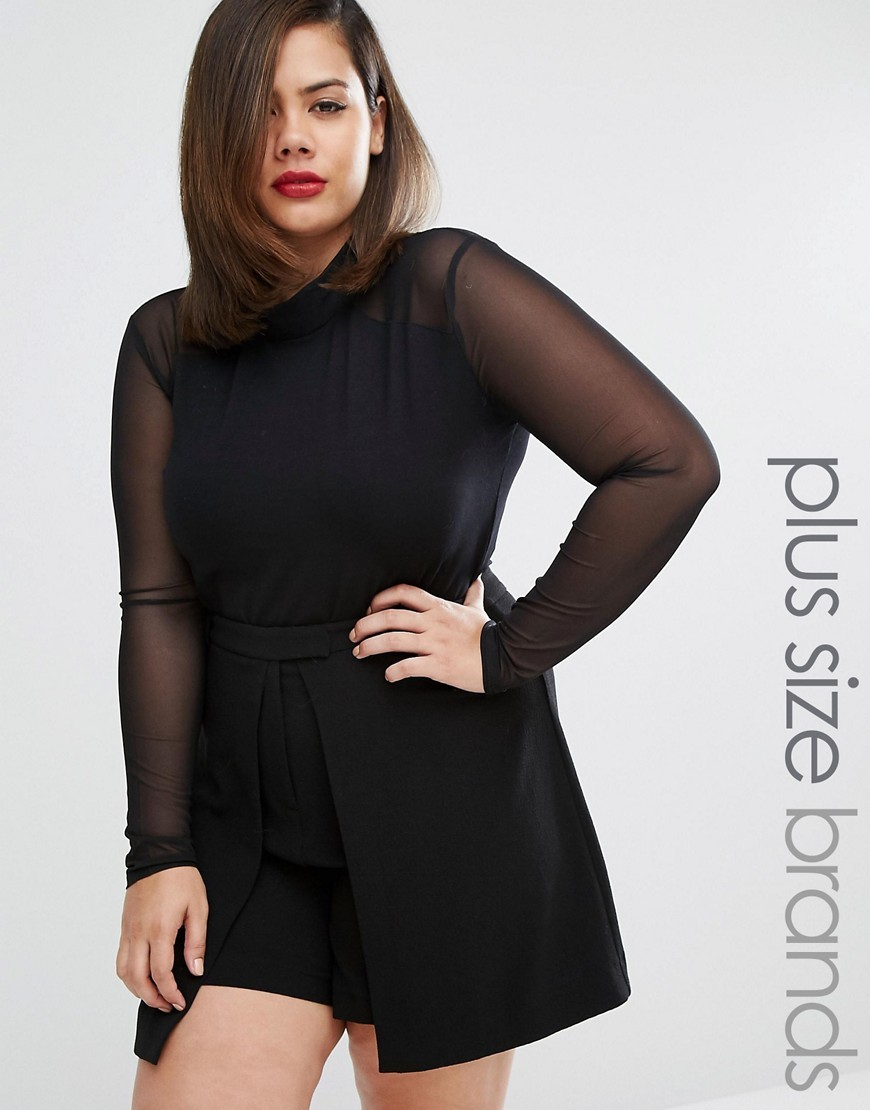 High Neck Sheer Body Black - pattern: plain; neckline: high neck; predominant colour: black; occasions: evening; length: standard; fibres: cotton - 100%; fit: tailored/fitted; sleeve length: long sleeve; sleeve style: standard; texture group: sheer fabrics/chiffon/organza etc.; pattern type: fabric; style: bodysuit; season: a/w 2016; wardrobe: event