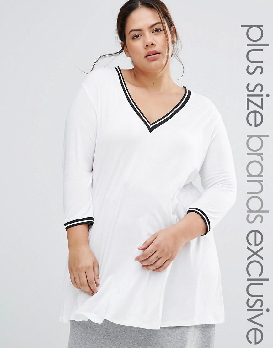 Varsity Jersey Top White - neckline: v-neck; pattern: plain; length: below the bottom; predominant colour: white; occasions: casual, creative work; style: top; fibres: viscose/rayon - stretch; fit: loose; sleeve length: 3/4 length; sleeve style: standard; pattern type: fabric; texture group: jersey - stretchy/drapey; wardrobe: basic; season: a/w 2016