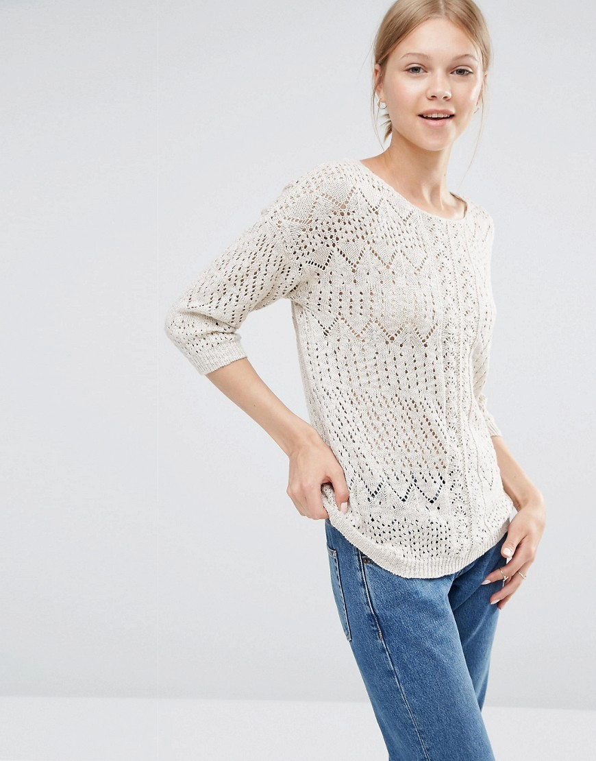 Long Sleever Jumper Moonbeam - pattern: plain; style: standard; predominant colour: ivory/cream; occasions: casual; length: standard; fibres: cotton - mix; fit: slim fit; neckline: crew; back detail: longer hem at back than at front; sleeve length: 3/4 length; sleeve style: standard; texture group: knits/crochet; pattern type: knitted - big stitch; wardrobe: basic; season: a/w 2016