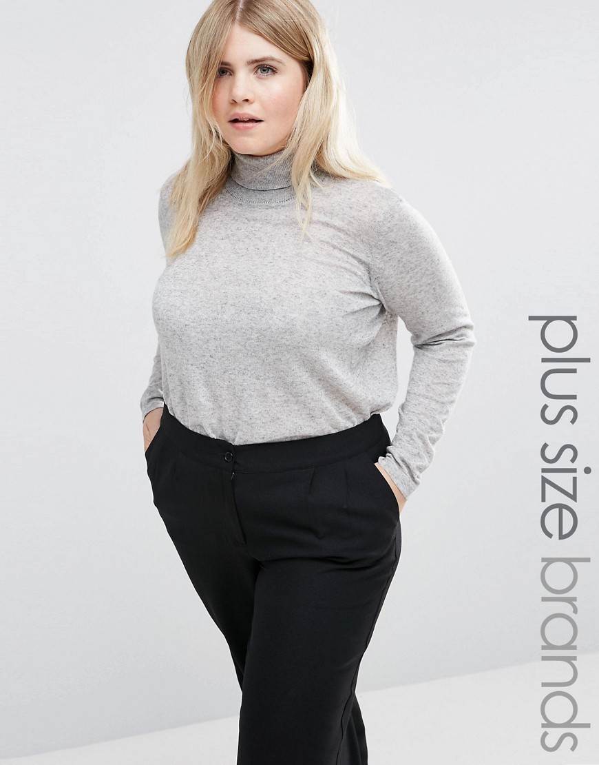 Roll Neck Knitted Jumper Grey - pattern: plain; neckline: roll neck; style: standard; predominant colour: light grey; occasions: casual; length: standard; fibres: polyester/polyamide - mix; fit: slim fit; sleeve length: long sleeve; sleeve style: standard; texture group: knits/crochet; pattern type: fabric; wardrobe: basic; season: a/w 2016