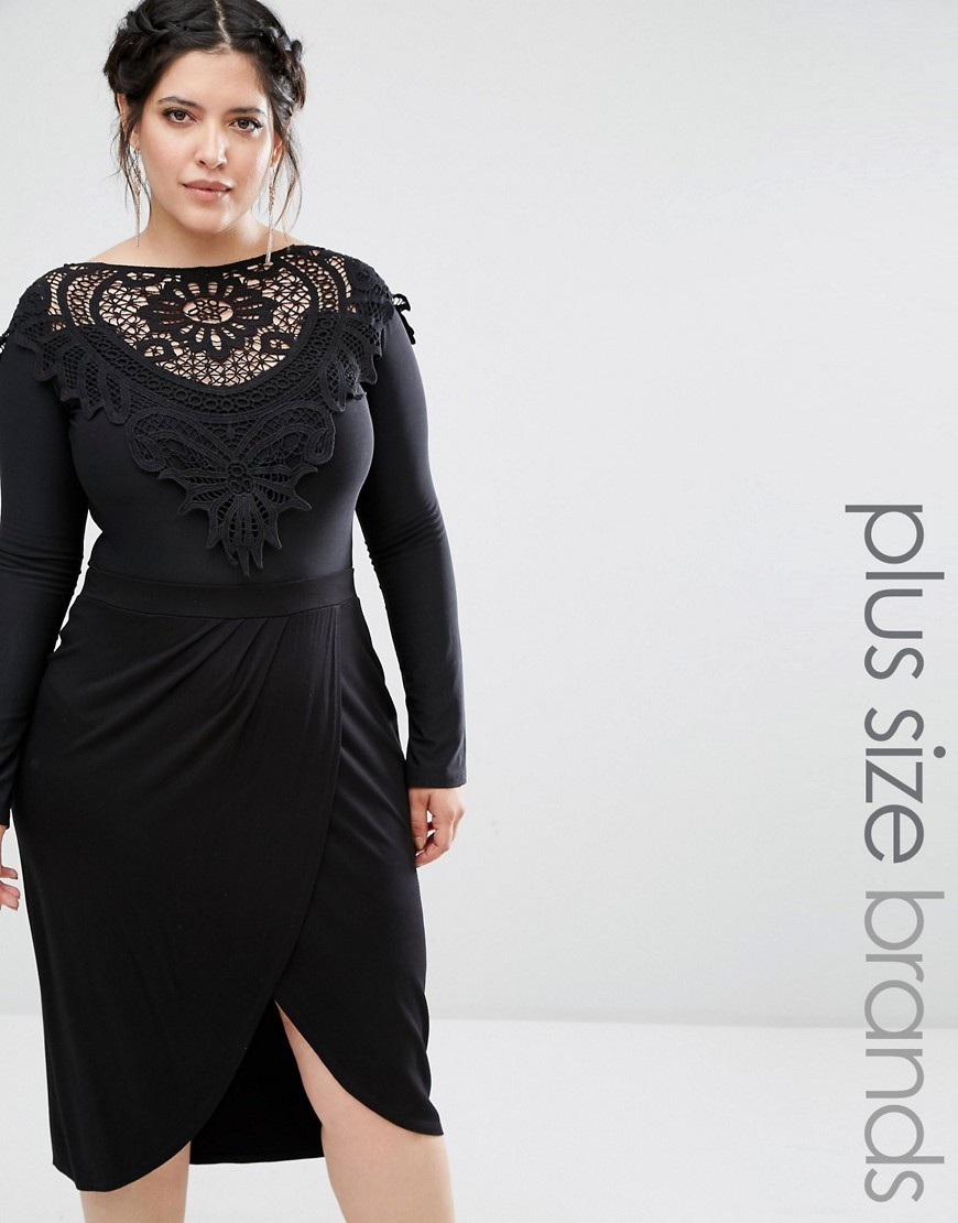Plus Body With Crochet Detail Black - neckline: slash/boat neckline; pattern: plain; bust detail: sheer at bust; predominant colour: black; occasions: evening; length: standard; fibres: polyester/polyamide - stretch; fit: body skimming; sleeve length: long sleeve; sleeve style: standard; pattern type: fabric; texture group: jersey - stretchy/drapey; style: bodysuit; season: a/w 2016; wardrobe: event
