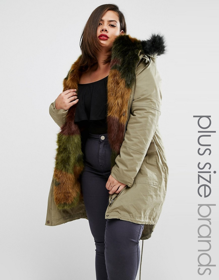 Premium Parka With Faux Fur Trim Khaki - pattern: plain; length: below the bottom; collar: funnel; fit: loose; style: parka; back detail: hood; predominant colour: khaki; occasions: casual; fibres: cotton - 100%; sleeve length: long sleeve; sleeve style: standard; texture group: cotton feel fabrics; collar break: high; pattern type: fabric; embellishment: fur; season: a/w 2016; wardrobe: highlight
