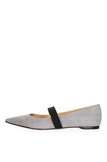 Ashley Pointed Elastic Shoe - predominant colour: light grey; secondary colour: black; occasions: casual, creative work; material: faux leather; heel height: flat; embellishment: elasticated; toe: pointed toe; style: ballerinas / pumps; finish: plain; pattern: colourblock; trends: tomboy girl; season: a/w 2016; wardrobe: highlight