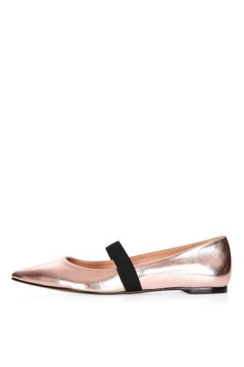 Ashley Pointed Elastic Shoe - predominant colour: bronze; secondary colour: black; occasions: casual, creative work; material: faux leather; heel height: flat; embellishment: elasticated; toe: pointed toe; style: ballerinas / pumps; finish: metallic; pattern: colourblock; season: a/w 2016; wardrobe: highlight; trends: metallics