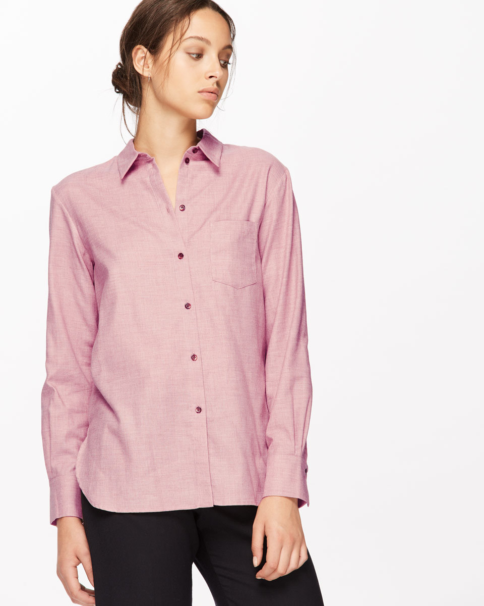 Melange Classic Shirt - neckline: shirt collar/peter pan/zip with opening; pattern: plain; style: shirt; predominant colour: pink; occasions: casual, creative work; length: standard; fibres: cotton - mix; fit: body skimming; sleeve length: long sleeve; sleeve style: standard; texture group: cotton feel fabrics; pattern type: fabric; season: a/w 2016; wardrobe: highlight
