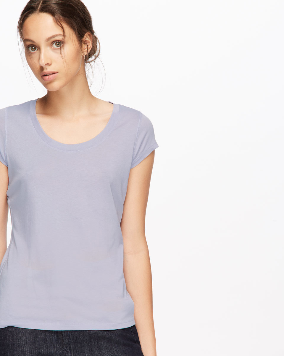 Pima Cotton T Shirt - pattern: plain; style: t-shirt; predominant colour: light grey; occasions: casual; length: standard; fibres: cotton - 100%; fit: body skimming; neckline: crew; sleeve length: short sleeve; sleeve style: standard; texture group: jersey - clingy; pattern type: fabric; wardrobe: basic; season: a/w 2016