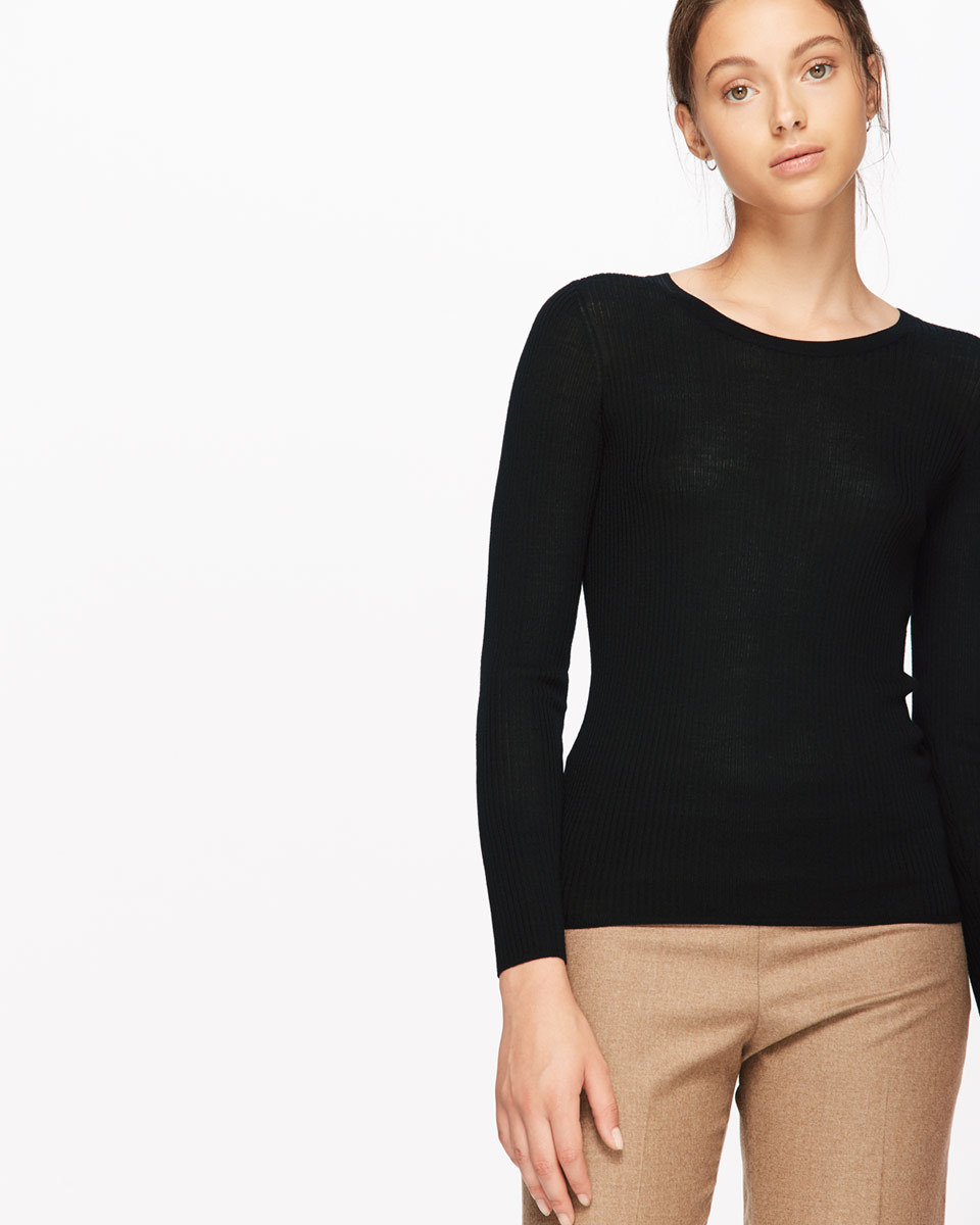 Rib Jumper With Back Pointelle - neckline: round neck; pattern: plain; style: standard; predominant colour: black; occasions: casual; length: standard; fibres: cotton - mix; fit: slim fit; sleeve length: long sleeve; sleeve style: standard; texture group: knits/crochet; pattern type: knitted - fine stitch; wardrobe: basic; season: a/w 2016