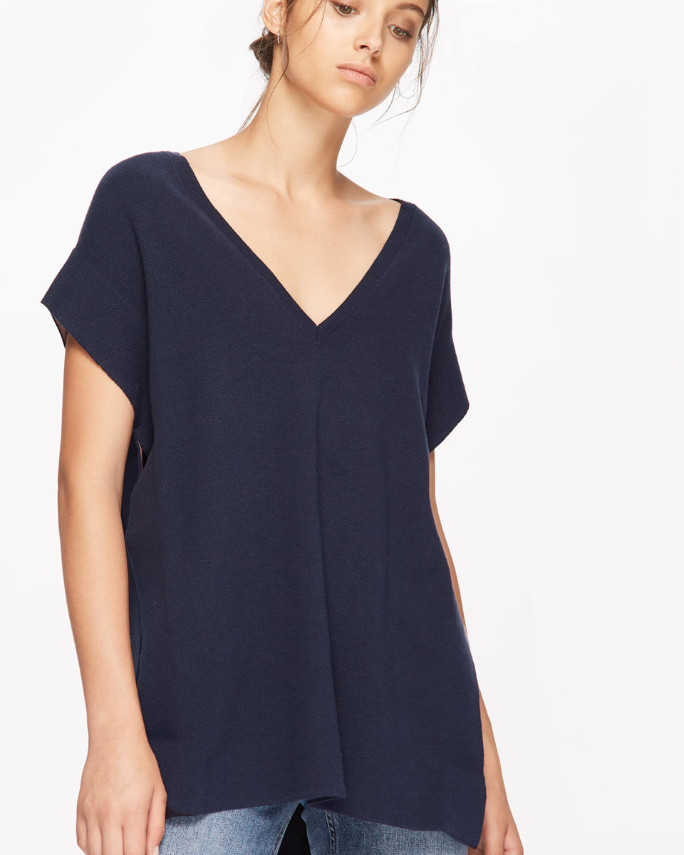 Silk Bonded Edge Tunic - neckline: low v-neck; sleeve style: dolman/batwing; pattern: plain; length: below the bottom; style: tunic; predominant colour: navy; occasions: casual, creative work; fibres: silk - mix; fit: loose; sleeve length: short sleeve; texture group: knits/crochet; pattern type: knitted - fine stitch; wardrobe: basic; season: a/w 2016